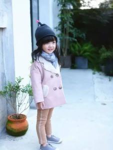 开心仔童装粉色双排扣外套