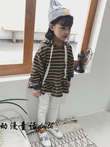 动漫童话秋冬新款条纹卫衣