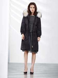 37°love女装18新款黑色羽绒服
