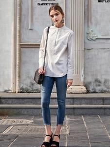 SITI女装白色休闲衬衫