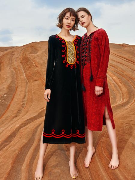 2018印巴文化女装文艺复古裙子