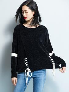 2018优衣美女装黑色毛衣