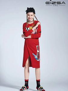 艾卓拉女装红色印花连衣裙