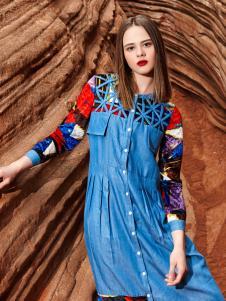 2018印巴文化女装精美刺绣牛仔裙