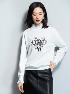2018优衣美女装白色印花卫衣