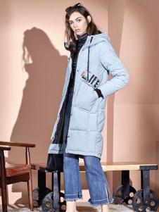 绫罗约女装蓝色长款棉衣