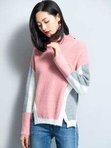 2018优衣美女装拼接毛衣