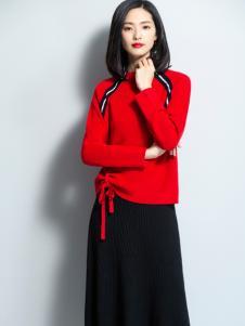 2018优衣美女装红色毛衣