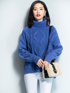 2018优衣美女装蓝色毛衣