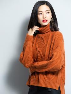 2018优衣美女装黄色高领毛衣