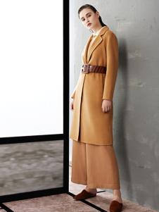 TAHAN女装秋冬新款简约气质长款收腰大衣外套