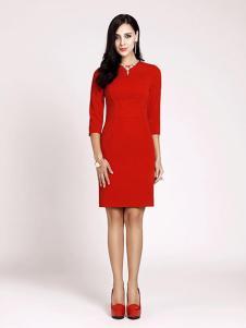 乔菲女装红色修身连衣裙