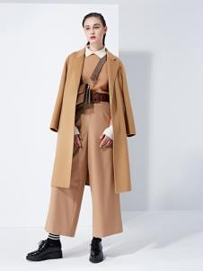 TAHAN女装秋冬新款韩版口袋中长款风衣外套