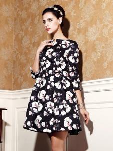 乔菲女装黑色印花连衣裙
