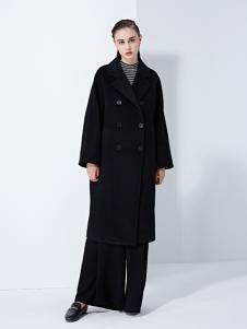 TAHAN女装秋冬新款双面羊毛羊驼毛手缝双排扣风衣款大衣