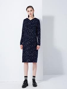 TAHAN女装秋冬新款新款长袖印花裙显气质百搭裙