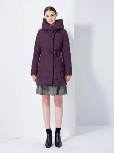 TAHAN女装秋冬新款连帽过膝修身羽绒服