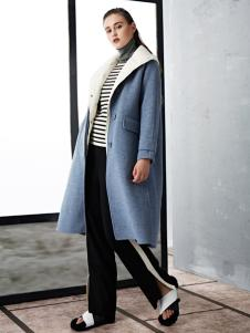 TAHAN女装秋冬新款简约气质中长款毛呢大衣外套