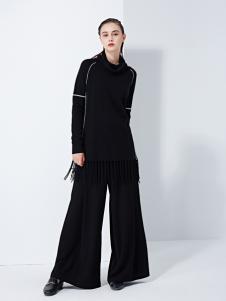 TAHAN女装秋冬新款休闲冰丝针织阔腿裤两件套装