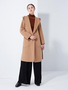 TAHAN女装秋冬新款百搭毛呢子中长款大衣外套