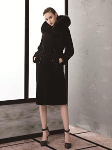 TAHAN女装秋冬新款简约气质中长款大毛领大衣外套
