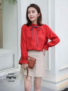 薇妮兰(芝麻e柜)女装秋冬新款红色衬衫