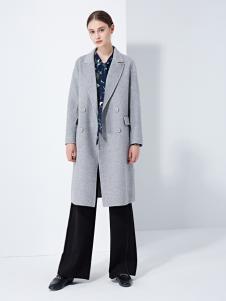 TAHAN女装秋冬新款简约纯色中长款呢大衣冬