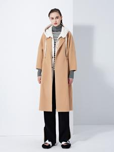 TAHAN女装秋冬简约气质中长款毛呢大衣外套
