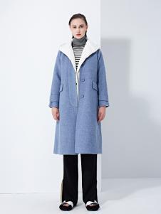 TAHAN女装2018秋冬简约气质中长款毛呢大衣外套