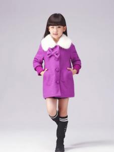 半橡皮童装紫色蝴蝶结外套