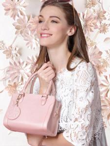欧雅箱包粉色时尚手拎包