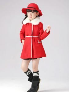 半橡皮童装红色时尚外套