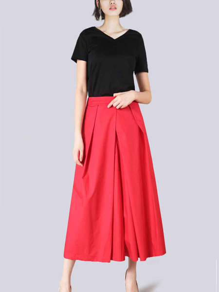 2018零时尚女装红色半裙