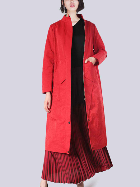 2018零时尚女装红色大衣