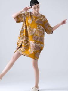 巴古利女装黄色印花连衣裙
