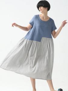 巴古利女装蓝灰拼接连衣裙