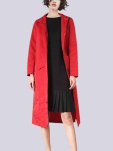 2018零時尚女裝紅色長款大衣