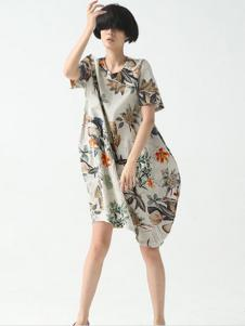 巴古利女装灰色印花连衣裙