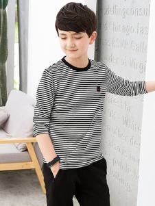 劳伦王子童装黑白条纹T恤