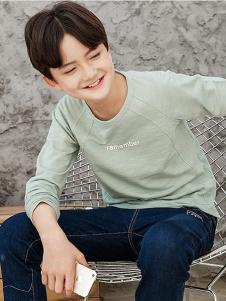 劳伦王子童装绿色时尚T恤