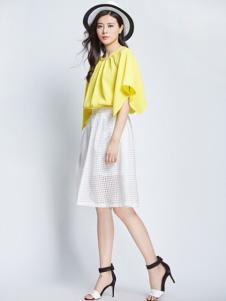 卓茜女装黄色宽松T恤