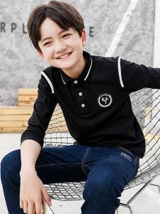 劳伦王子童装黑色时尚T恤