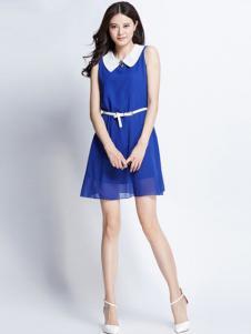 卓茜女装湖蓝时尚连衣裙