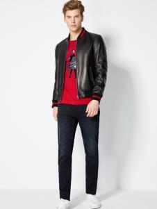 2018梵思诺男装黑色皮夹克