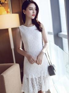 左微微女装白色蕾丝连衣裙