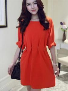 左微微女装红色收腰连衣裙