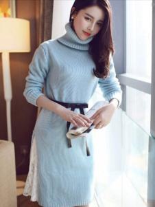左微微女装蓝色高领连衣裙