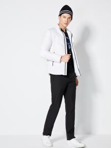 2018梵思诺男装白色羽绒服