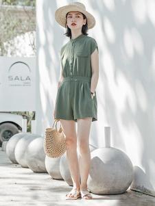 云上生活女裝綠色收腰連體褲