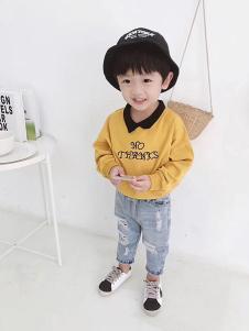 淘淘兔童装黄色字母T恤
